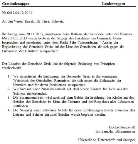Gruiu - Keine Tötungen - Amtlich bestätigt!