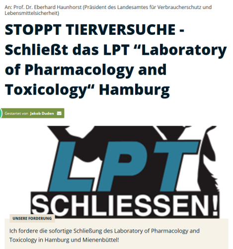 "Screenshot_2019-10-24 STOPPT TIERVERSUCHE - Schließt das LPT ""Laboratory of Pharmacology and Toxicology"" Hamburg"